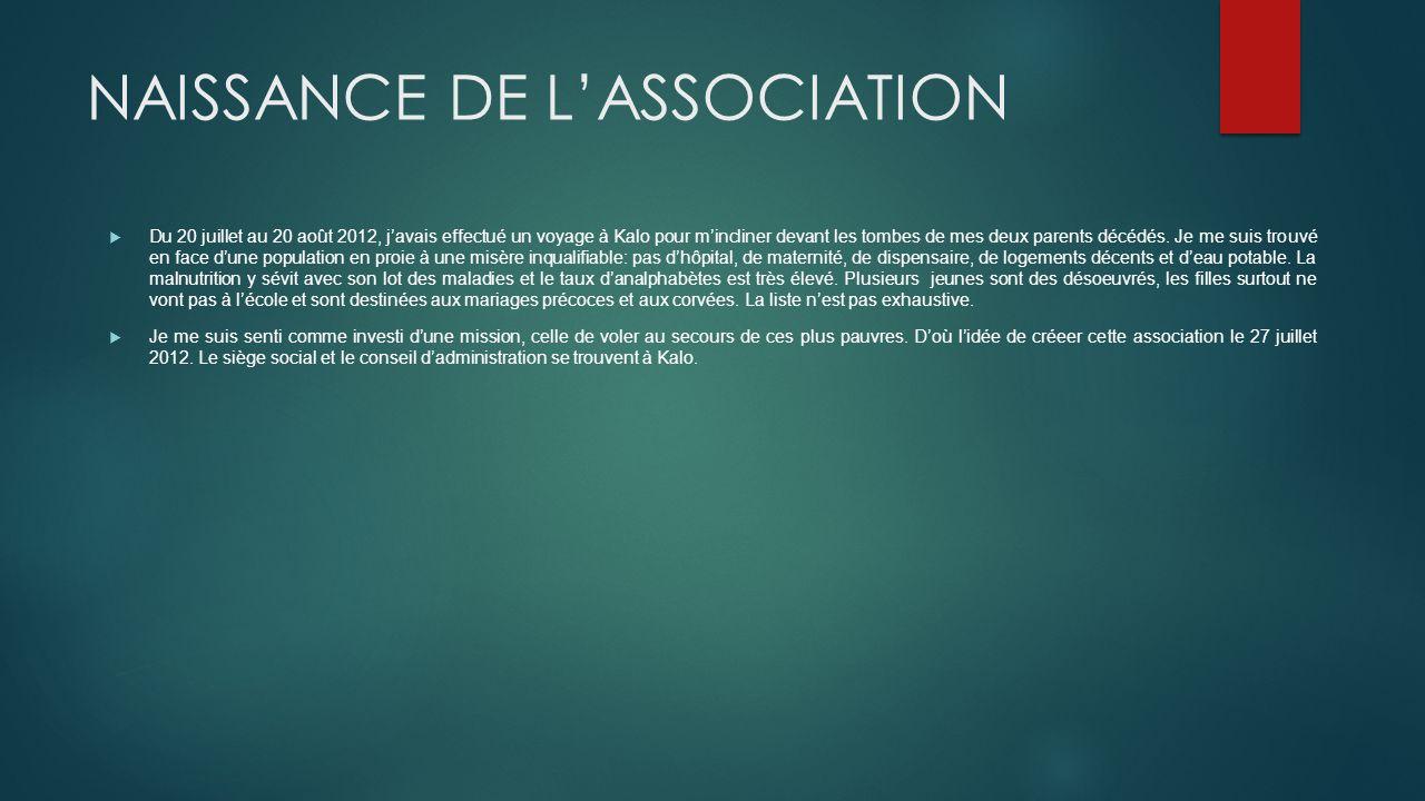 NAISSANCE DE L'ASSOCIATION
