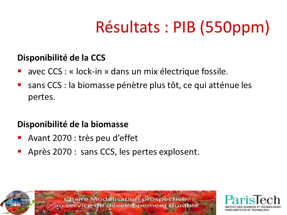 Résultats : PIB (550ppm) Disponibilité de la CCS