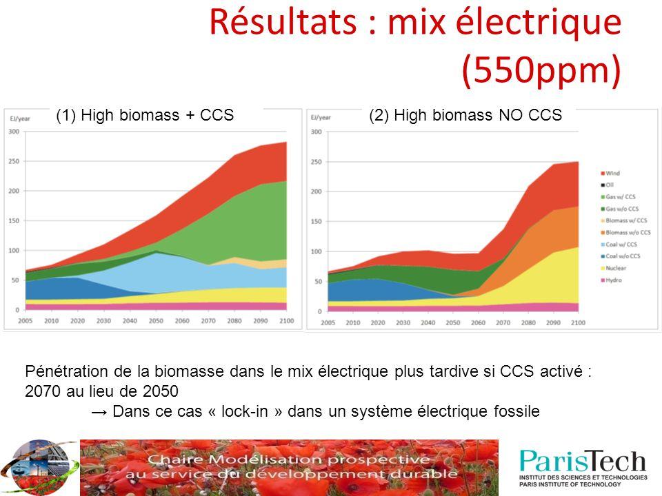 Résultats : mix électrique (550ppm)