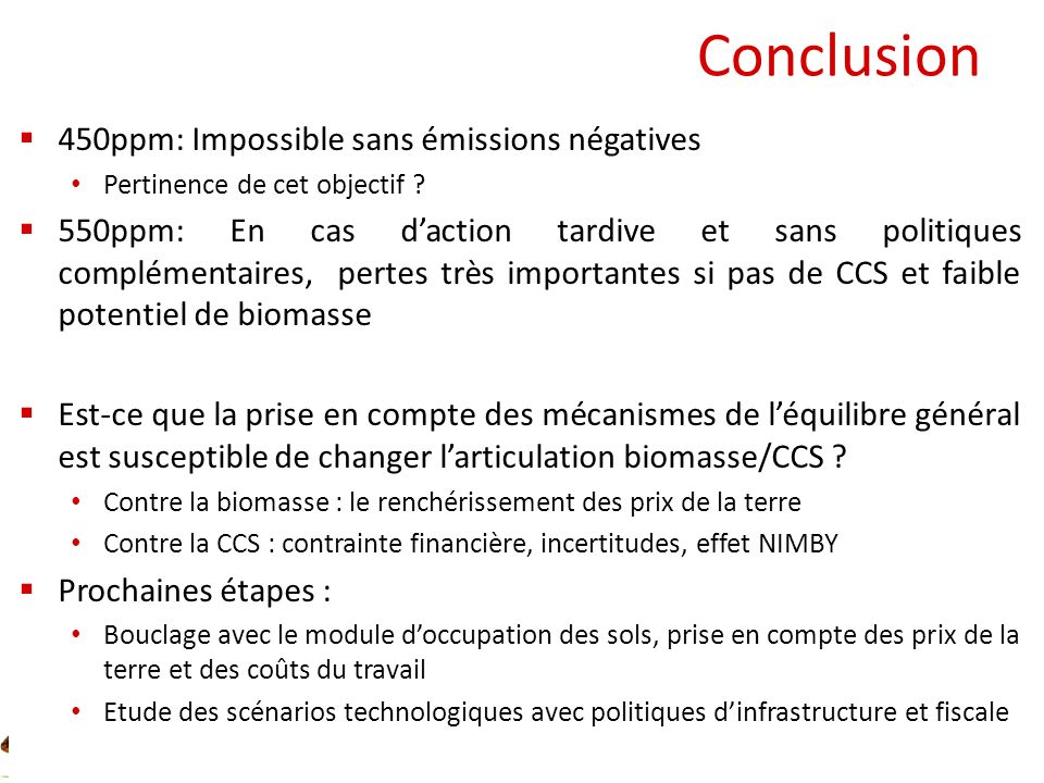 Conclusion 450ppm: Impossible sans émissions négatives