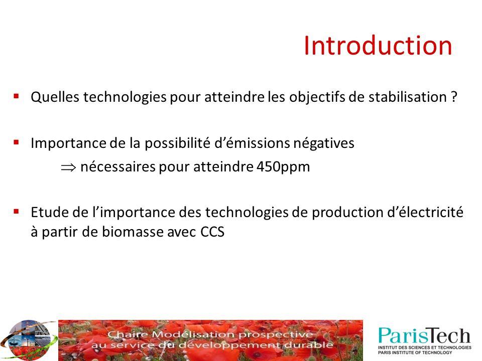 Introduction Quelles technologies pour atteindre les objectifs de stabilisation Importance de la possibilité d'émissions négatives.