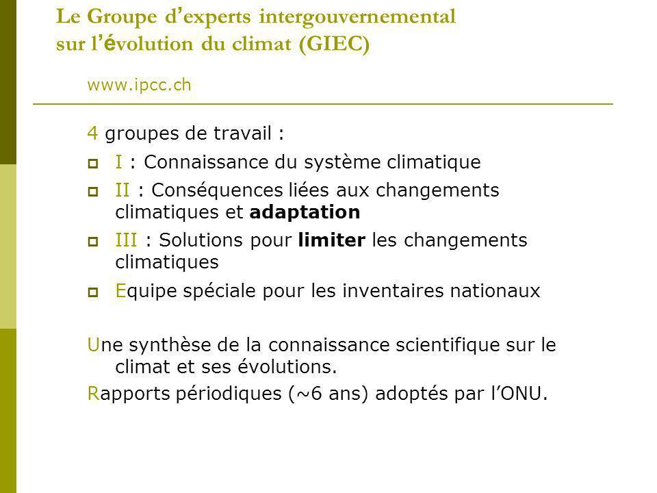 Le Groupe d'experts intergouvernemental sur l'évolution du climat (GIEC)