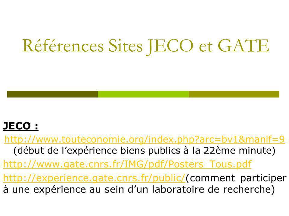 Références Sites JECO et GATE
