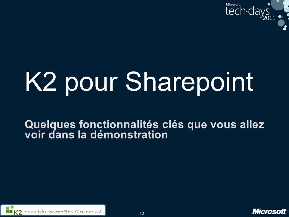 K2 pour Sharepoint Quelques fonctionnalités clés que vous allez voir dans la démonstration