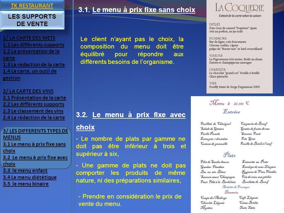 3.1. Le menu à prix fixe sans choix