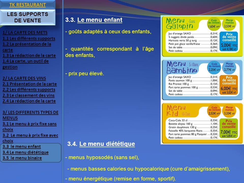 3.3. Le menu enfant 3.4. Le menu diététique TK RESTAURANT