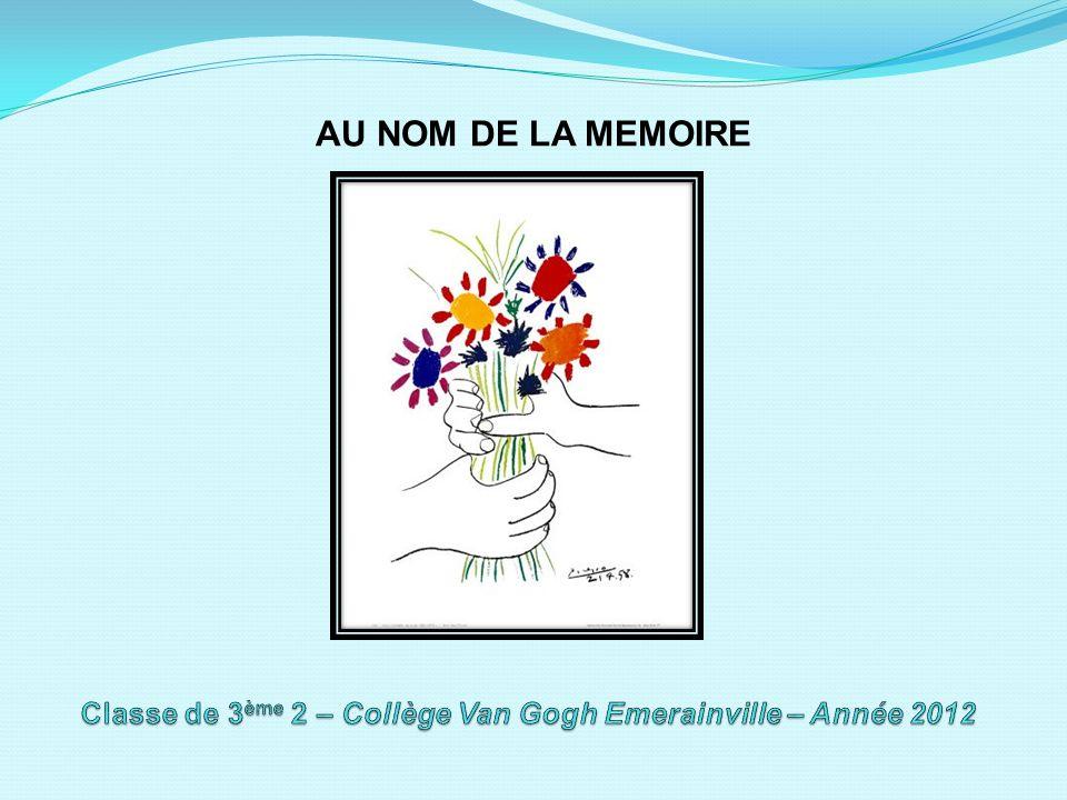 Classe de 3ème 2 – Collège Van Gogh Emerainville – Année 2012
