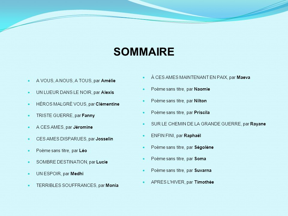 SOMMAIRE A VOUS, A NOUS, A TOUS, par Amélie