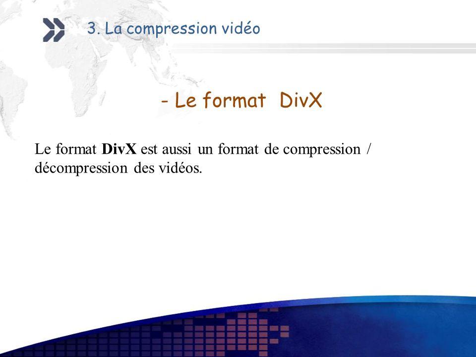 - Le format DivX 3. La compression vidéo