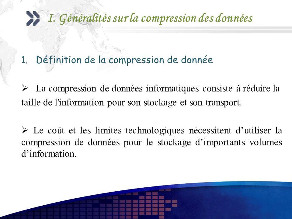 I. Généralités sur la compression des données