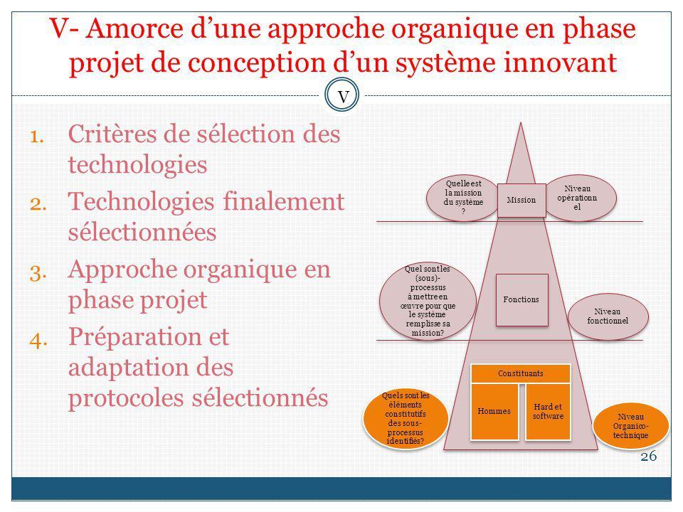 V- Amorce d'une approche organique en phase projet de conception d'un système innovant