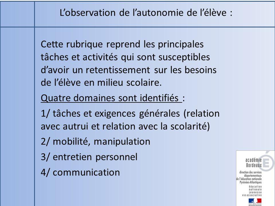 L'observation de l'autonomie de l'élève :