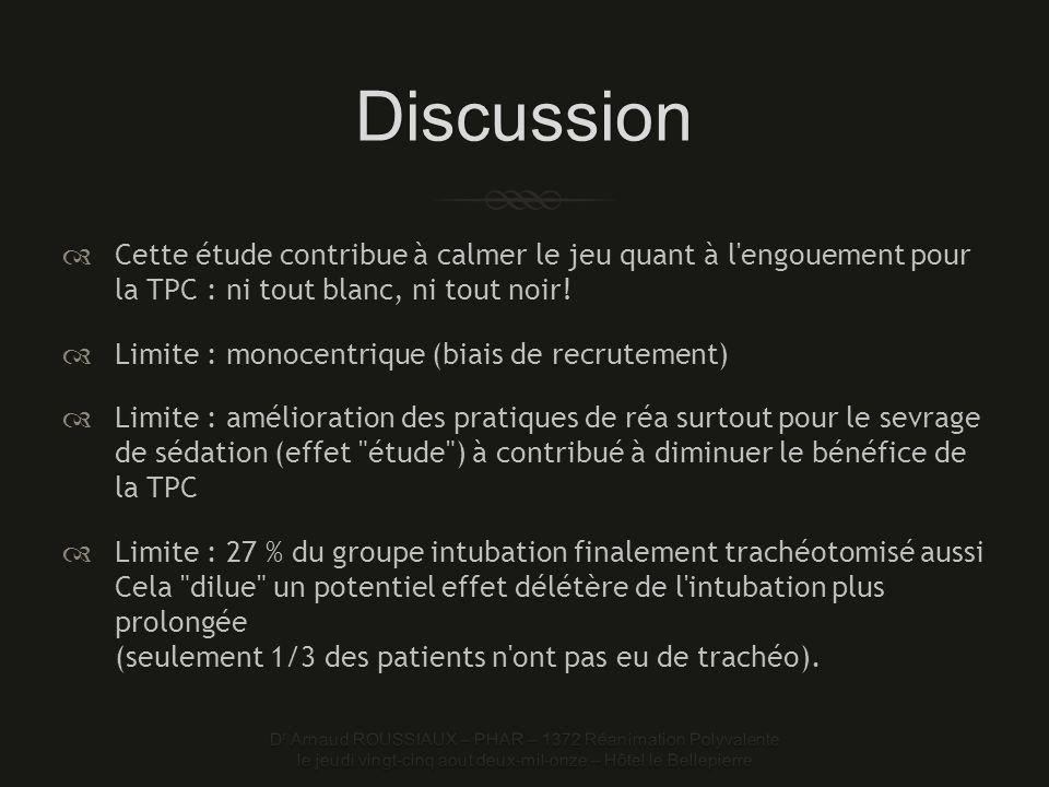 Discussion Cette étude contribue à calmer le jeu quant à l engouement pour la TPC : ni tout blanc, ni tout noir!