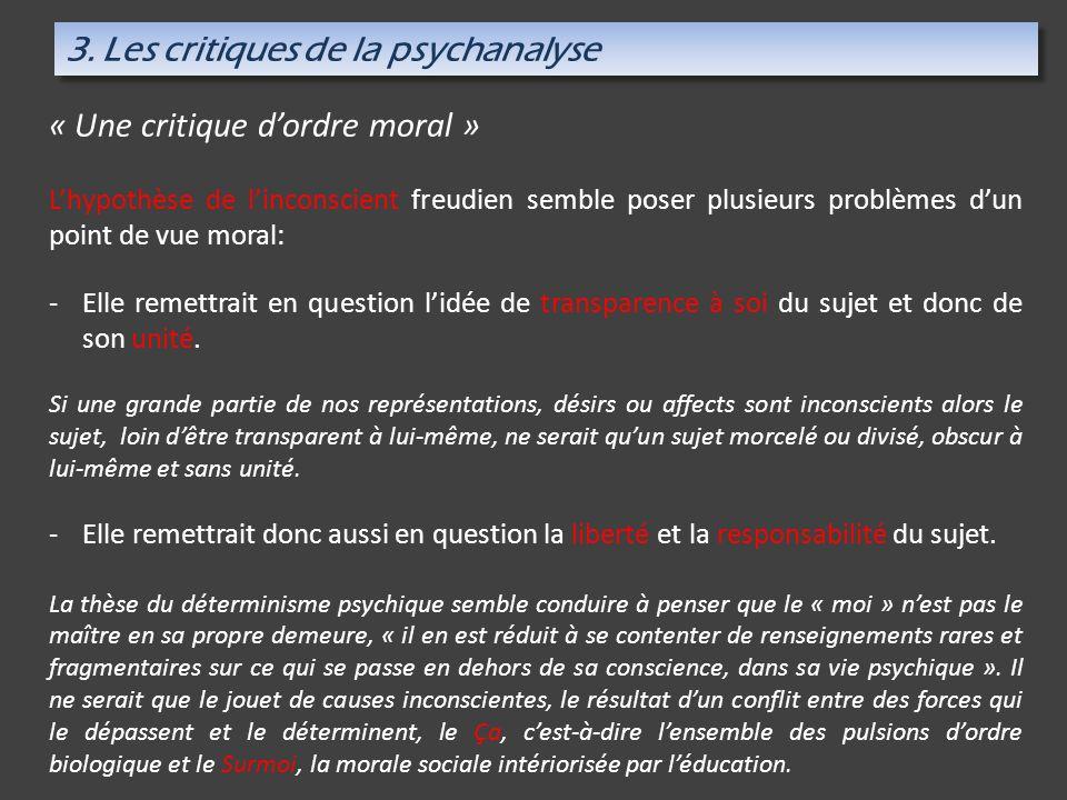 3. Les critiques de la psychanalyse