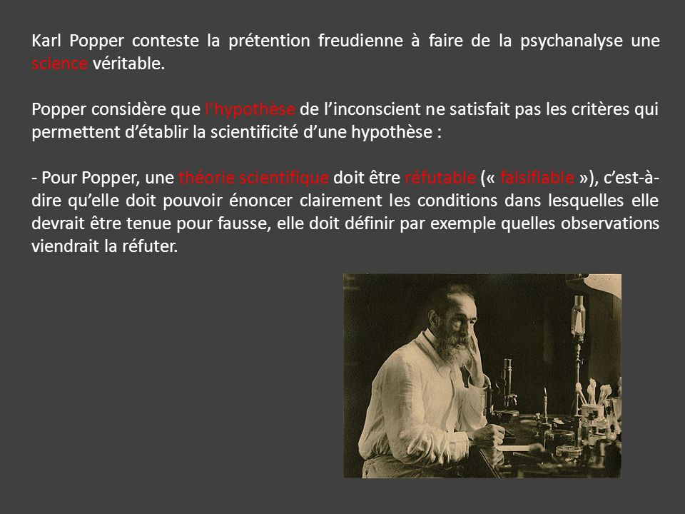 Karl Popper conteste la prétention freudienne à faire de la psychanalyse une science véritable.