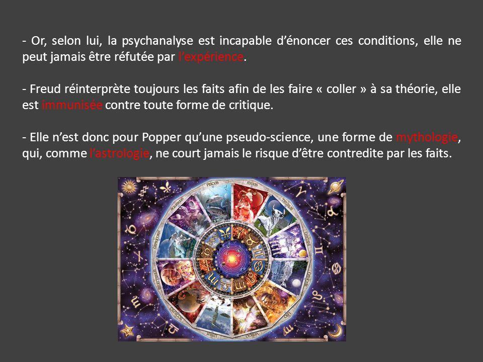 - Or, selon lui, la psychanalyse est incapable d'énoncer ces conditions, elle ne peut jamais être réfutée par l'expérience.