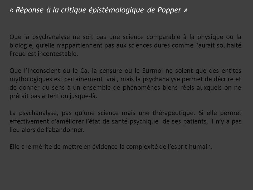 « Réponse à la critique épistémologique de Popper »