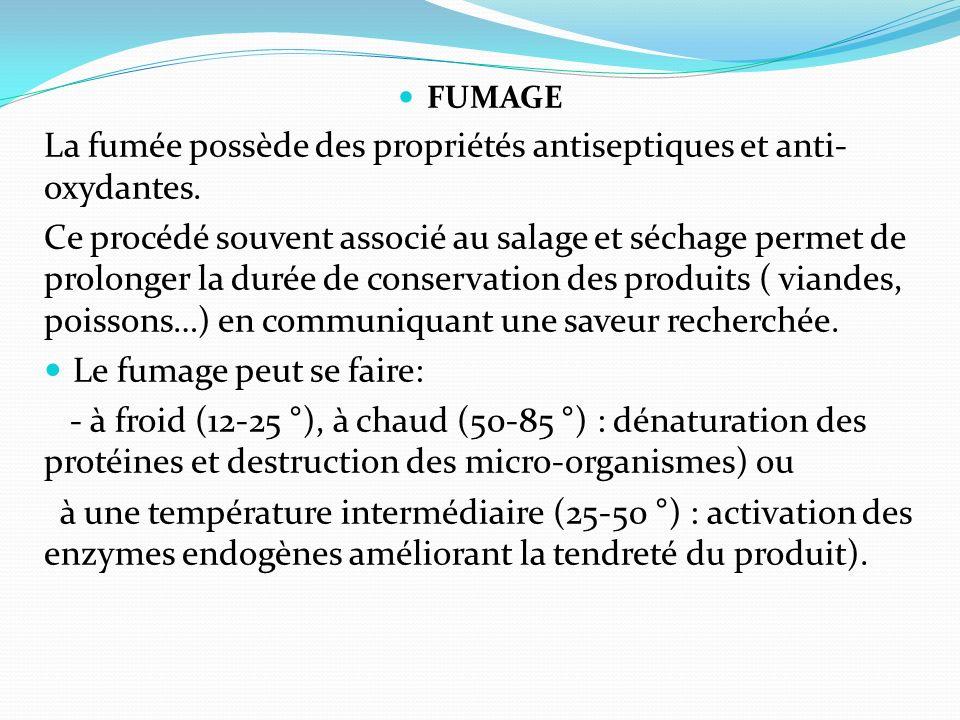 La fumée possède des propriétés antiseptiques et anti-oxydantes.