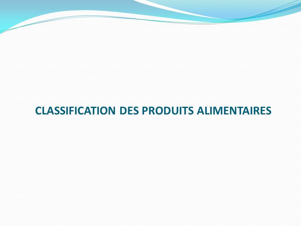 CLASSIFICATION DES PRODUITS ALIMENTAIRES