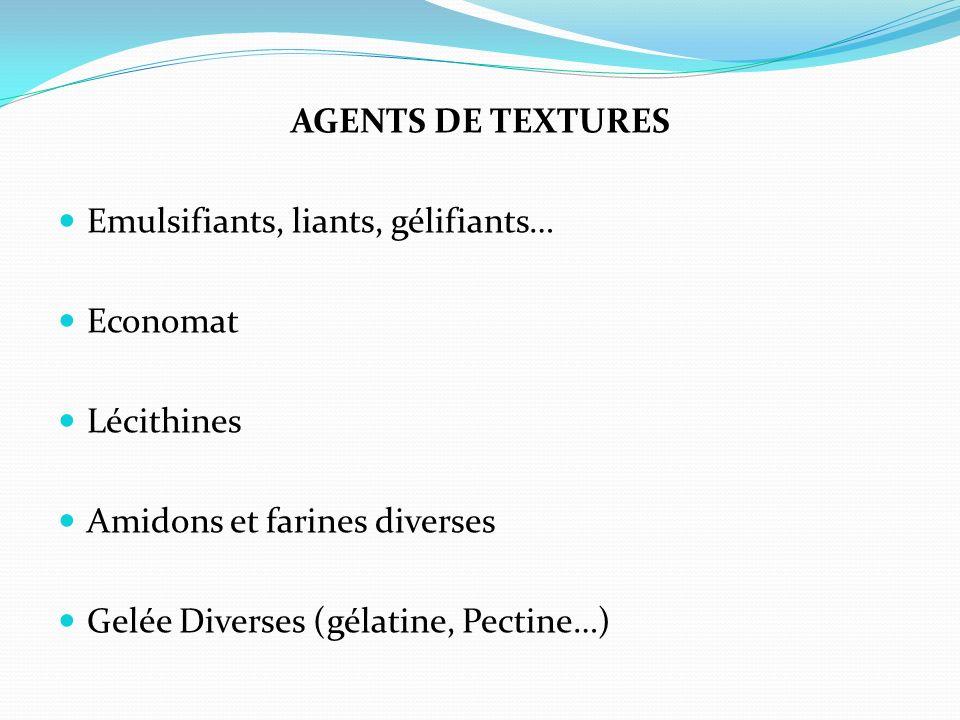 Agents de textures Emulsifiants, liants, gélifiants… Economat. Lécithines. Amidons et farines diverses.