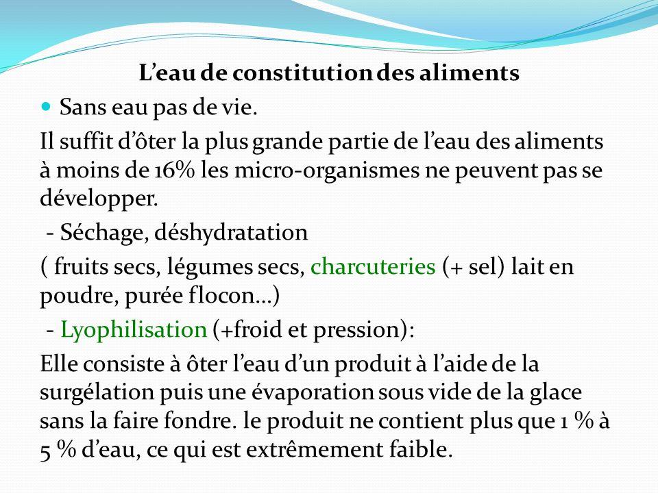L'eau de constitution des aliments