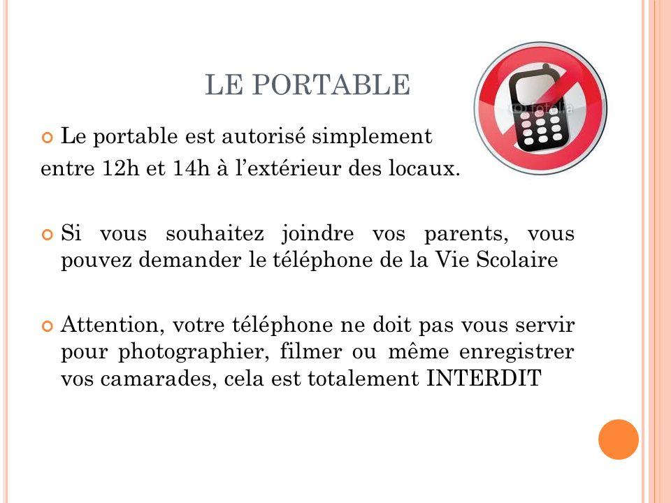 LE PORTABLE Le portable est autorisé simplement