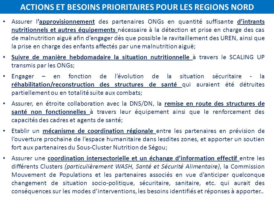 ACTIONS ET BESOINS PRIORITAIRES POUR LES REGIONS NORD