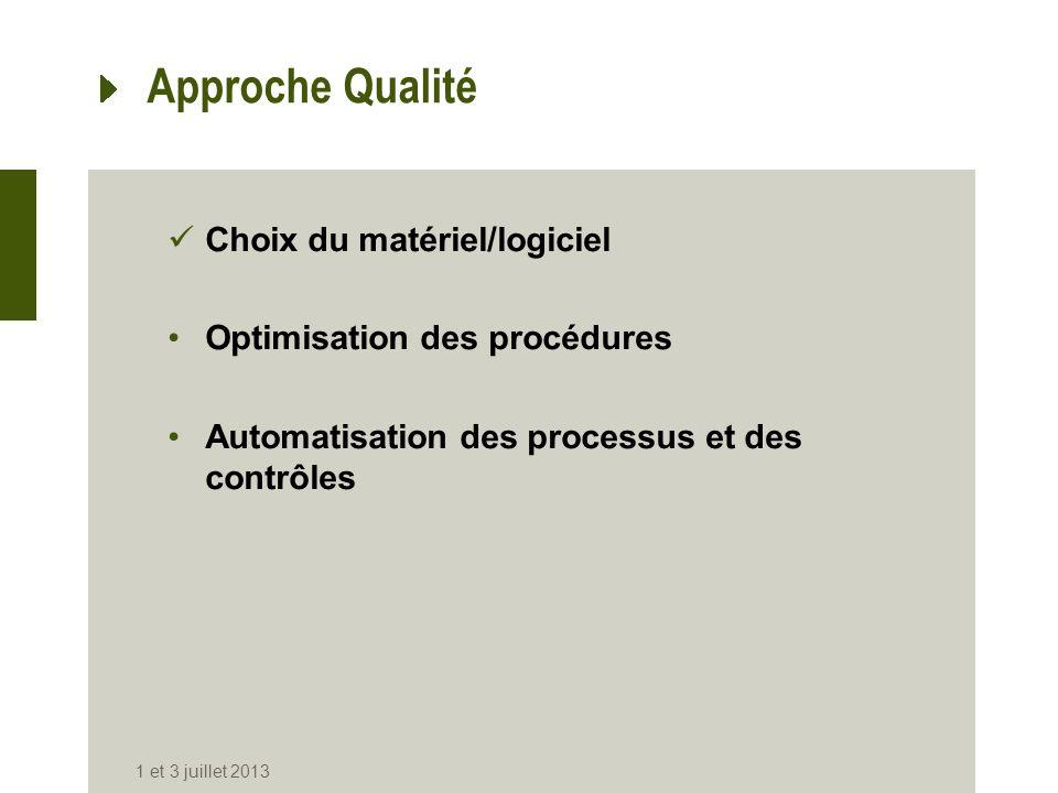 Approche Qualité Choix du matériel/logiciel