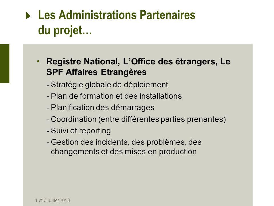 Les Administrations Partenaires du projet…