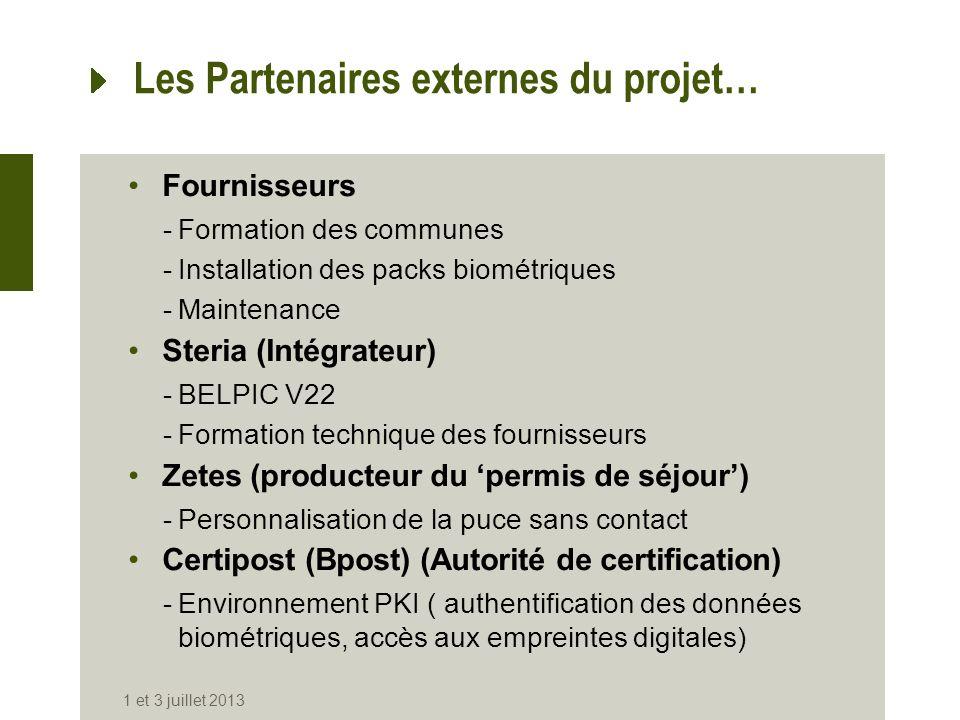 Les Partenaires externes du projet…