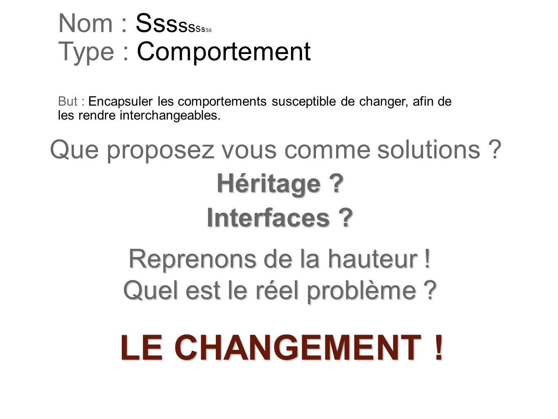 Nom : Sssssssss Type : Comportement But : Encapsuler les comportements susceptible de changer, afin de les rendre interchangeables.