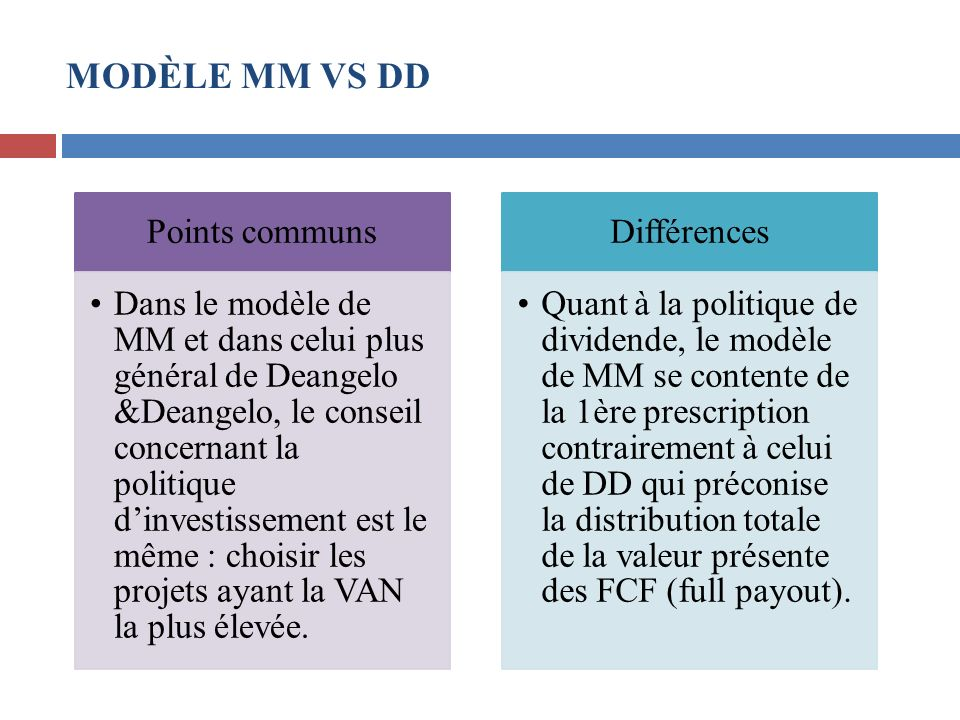 MODÈLE MM VS DD Points communs