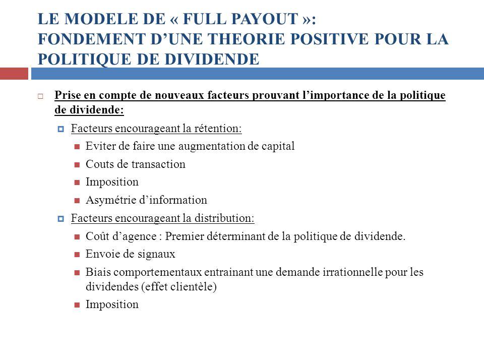 LE MODELE DE « FULL PAYOUT »: FONDEMENT D'UNE THEORIE POSITIVE POUR LA POLITIQUE DE DIVIDENDE