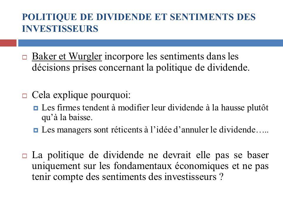 POLITIQUE DE DIVIDENDE ET SENTIMENTS DES INVESTISSEURS