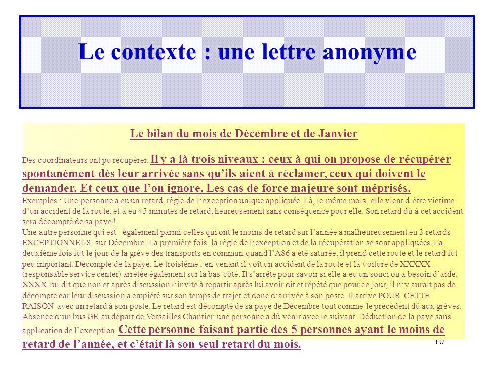 Le contexte : une lettre anonyme
