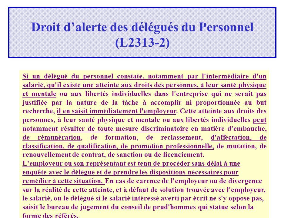 Droit d'alerte des délégués du Personnel (L2313-2)