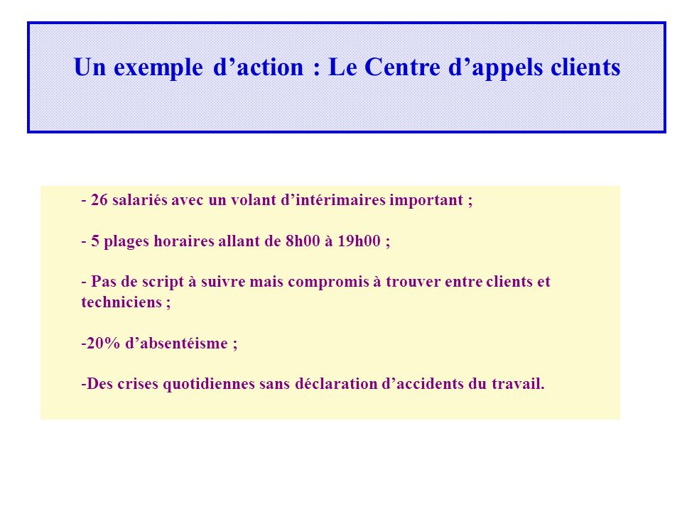 Un exemple d'action : Le Centre d'appels clients