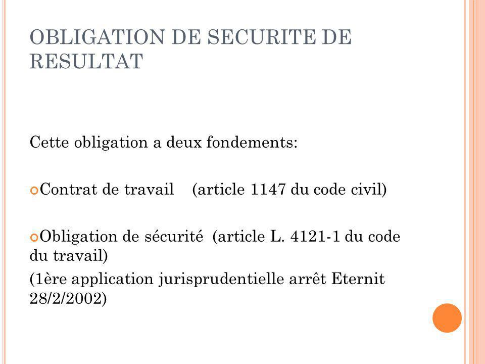 OBLIGATION DE SECURITE DE RESULTAT