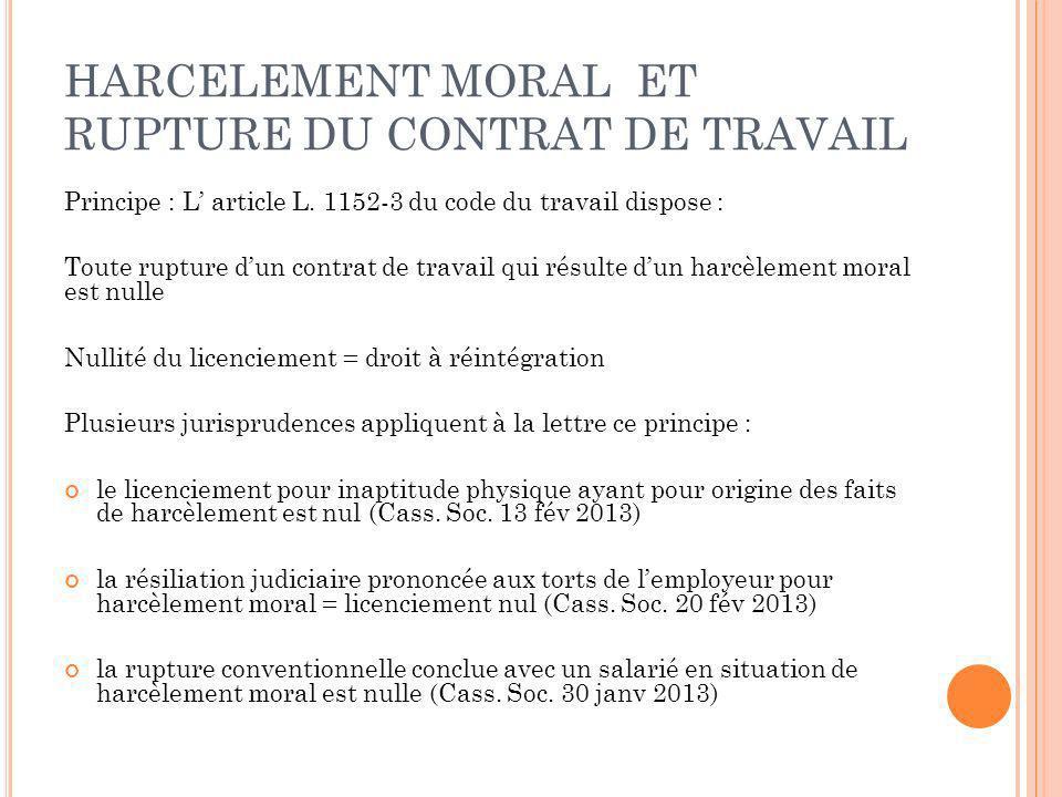 HARCELEMENT MORAL ET RUPTURE DU CONTRAT DE TRAVAIL