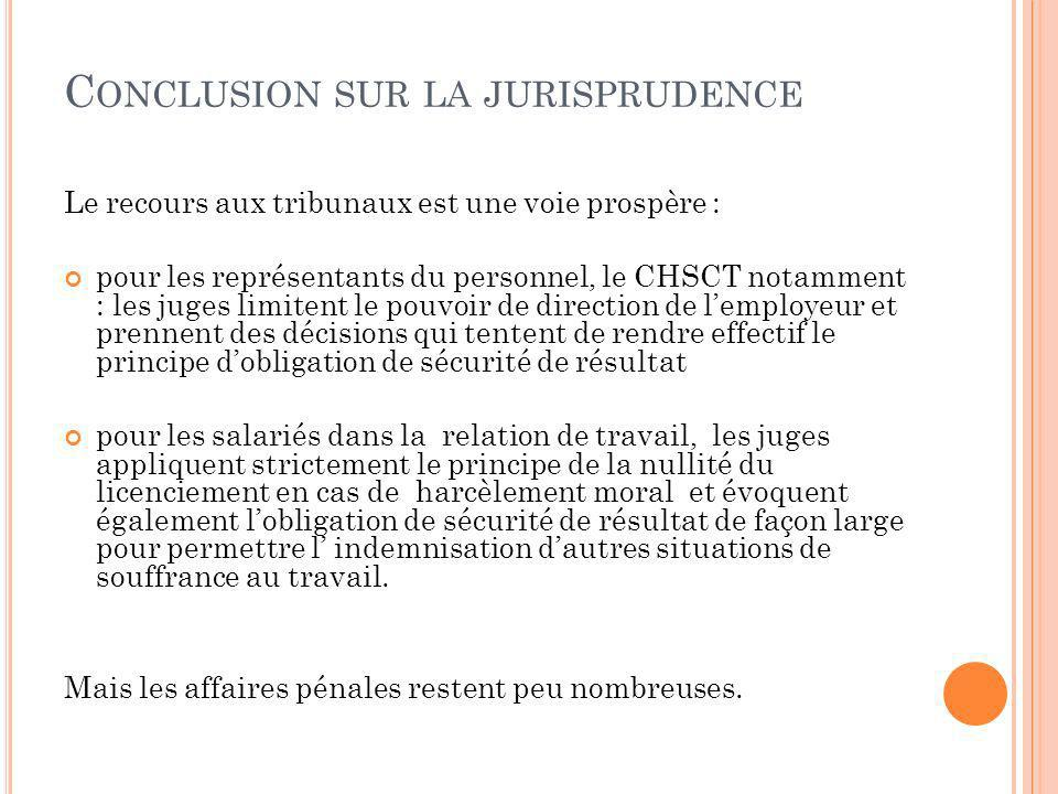 Conclusion sur la jurisprudence