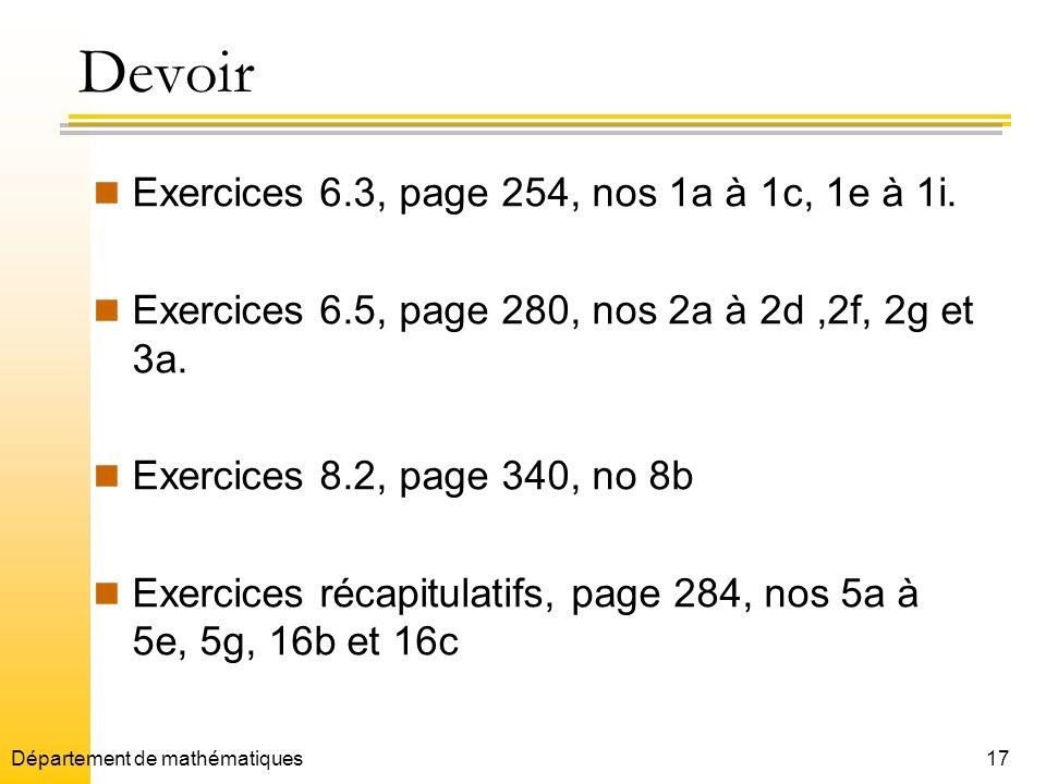 Devoir Exercices 6.3, page 254, nos 1a à 1c, 1e à 1i.