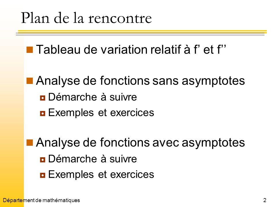 Plan de la rencontre Tableau de variation relatif à f' et f''