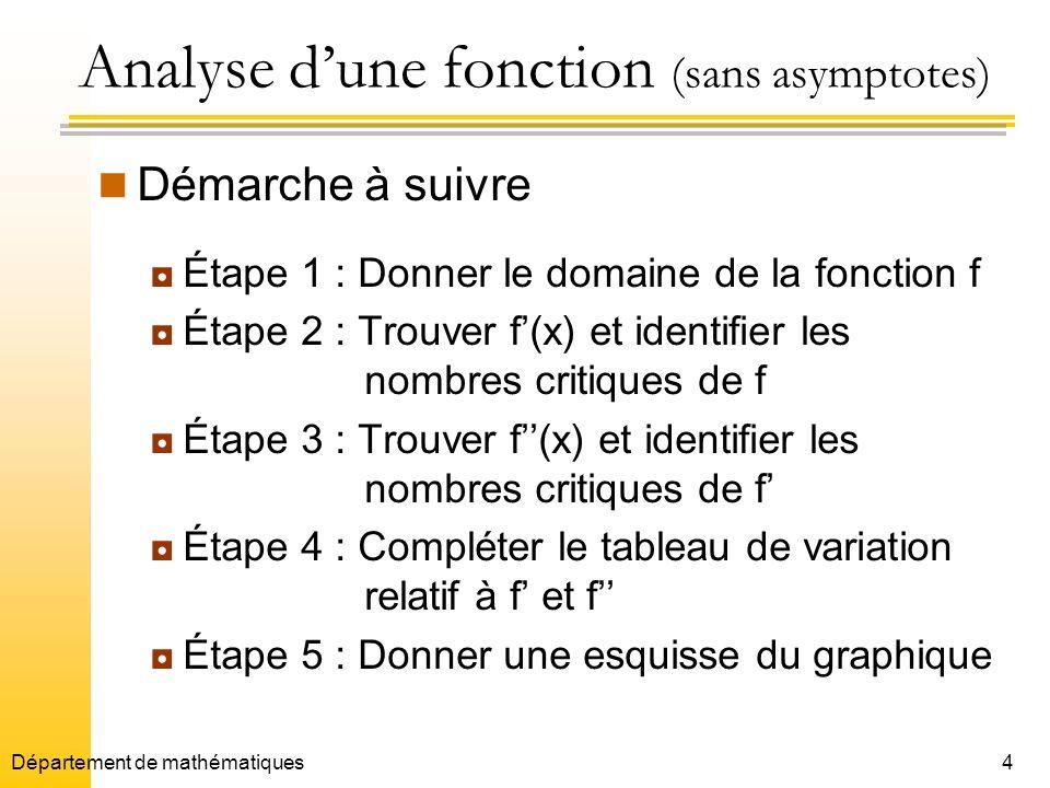 Analyse d'une fonction (sans asymptotes)
