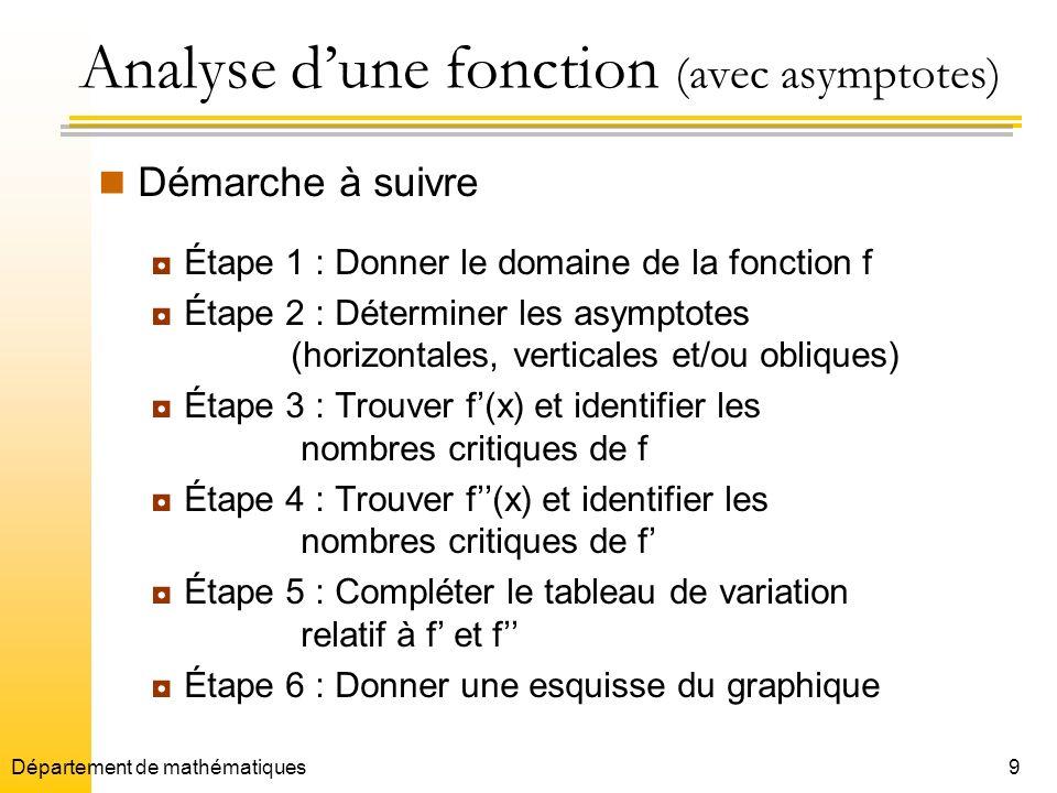 Analyse d'une fonction (avec asymptotes)