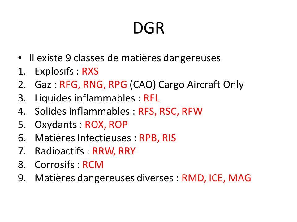 DGR Il existe 9 classes de matières dangereuses Explosifs : RXS