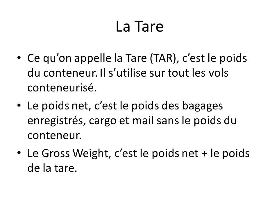 La Tare Ce qu'on appelle la Tare (TAR), c'est le poids du conteneur. Il s'utilise sur tout les vols conteneurisé.