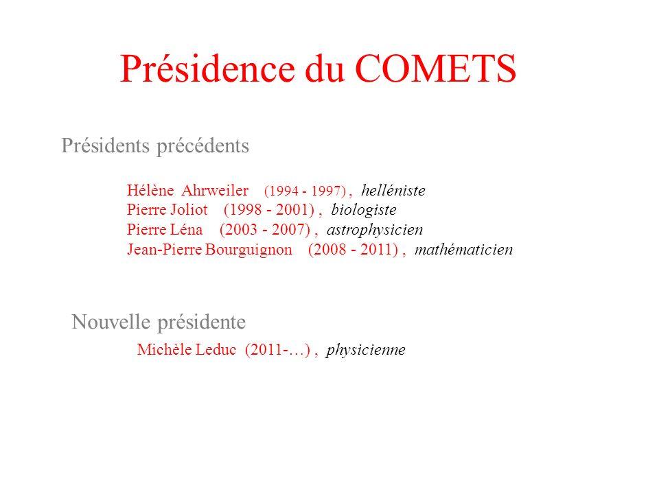 Présidence du COMETS Présidents précédents Nouvelle présidente