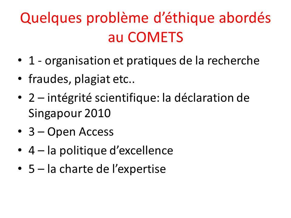 Quelques problème d'éthique abordés au COMETS