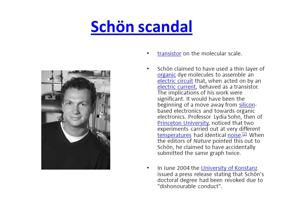 Schön scandal transistor on the molecular scale.
