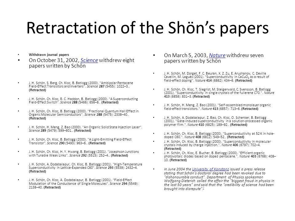 Retractation of the Shön's papers